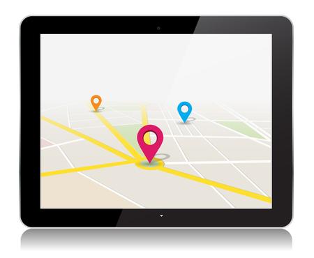 Deze afbeelding is een vector bestand wat neerkomt op een tablet met een locatie op de kaart app Vector Ontwerp Illustratie.