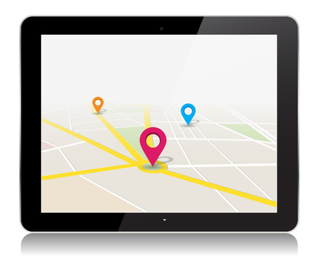 This image is a vector file representing a tablet with a map location app Vector Design Illustration.