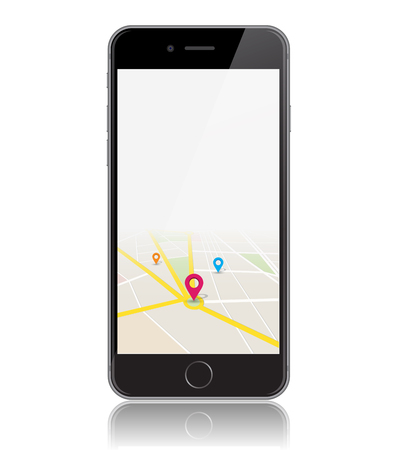 This image is a vector file representing a phone with a map location app Vector Design Illustration. Illustration