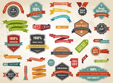Vintage vector set of  labels banners tags stickers badges design elements. Çizim