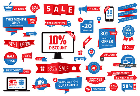 sale sticker: This image is a vector file representing a Label Tag Banner Sale collection set.