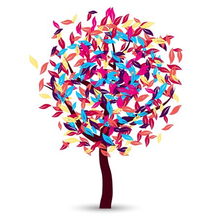 This image is a vector file representing a colorful tree vector design.