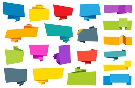 Deze afbeelding is een vector bestand wat neerkomt op een Origami Banner Ribbon Label collectie. Stock Illustratie