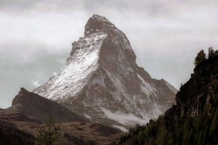 The Matterhorn is the Mountain of Mountains. Shaped like a jagged tooth, the main watershed and border between Switzerland and Italy. Stock fotó