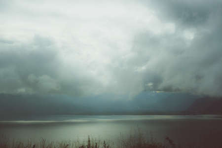 Lake Geneva (CH) through the clouds - from the highway
