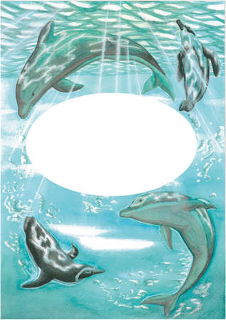 Marine illustration with dolphins and penguins with a framework for events or text painted with watercolors