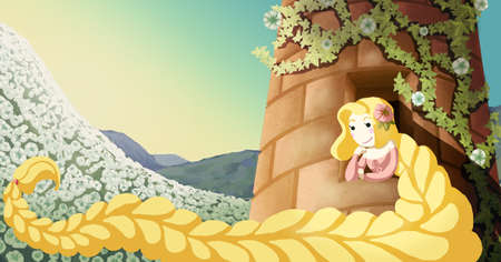 Childish and nostalgic illustration about Rapunzel the brothers Grimm fairy tale watching outside desiring freedom Zdjęcie Seryjne