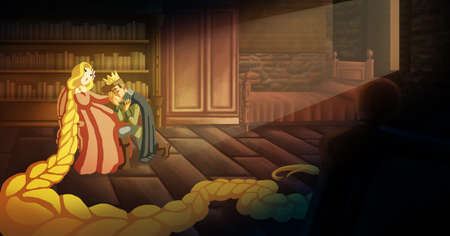 Childish and romantic illustration about Rapunzel the brothers Grimm fairy tale