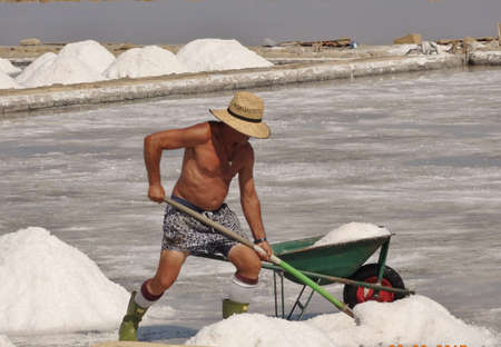 workman in salt flat