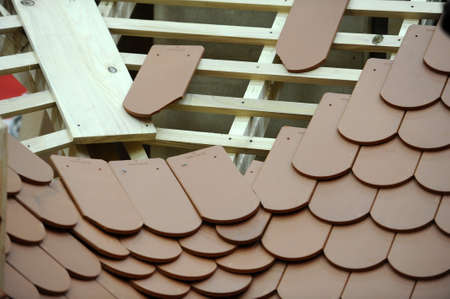 home addition: Building a roof made of tiles Stock Photo