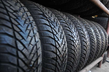 New car tires in a row photo