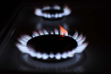 gas flame: Natural gas flame on the stove Stock Photo