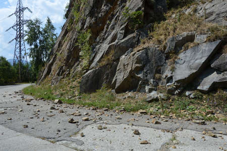 bounce: Rockfall in Carpathians where the road is covered with stones