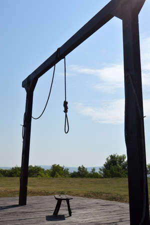 capital punishment: GALLOWS UNDER THE BLUE SKY Stock Photo