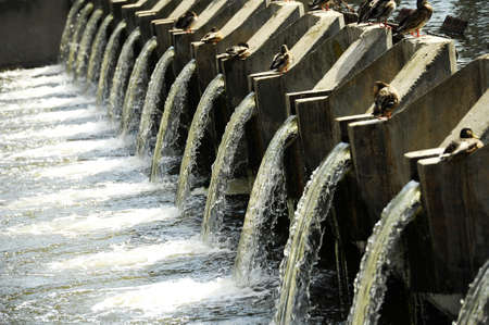 water purification plant: Waste water treatment plant Stock Photo