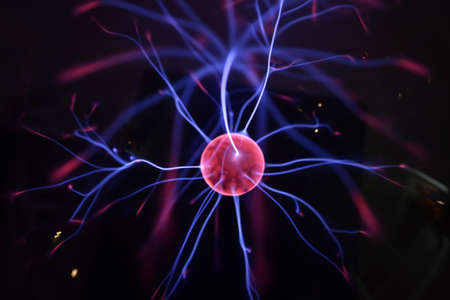 blue ball: Tesla coil - physics experiment in laboratory