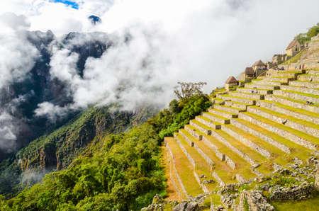 MACHU PICCHU, CUSCO REGION, PERU- JUNE 4, 2013: Details of the residential area of the 15th-century Inca citadel Machu Picchu