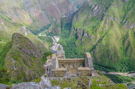 cusco region: MACHU PICCHU, CUSCO REGION, PERU- JUNE 4, 2013: Panoramic view of Machu Picchu mountains from Huayna Picchu Editorial
