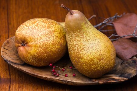 Two pears on a wooden plate with brown color wood background. photo