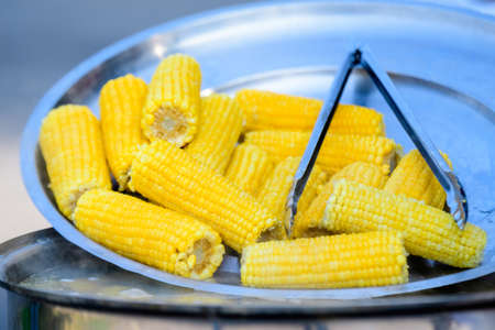 Close up of a group of freshly boiled yellow corn on a grey metallic surface in display at a street food market