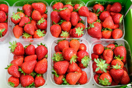 Transparent plastic boxes with fresh organic red strawberries displayed for sale at a street food market Reklamní fotografie