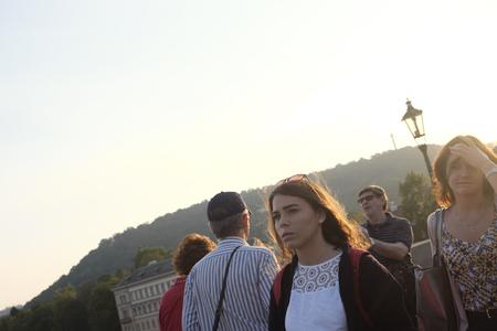 czech women: Prague, Czech Republic - October 13: Sunset on the Charles Bridge and the two women on October 13, 2015 in Prague, Czech Republic. Editorial