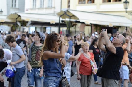 czech women: Prague, Czech Republic - June 30: Miss stand on the sidewalk and smiles on June 30, 2015 in Prague, Czech Republic. Editorial