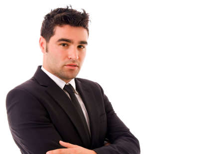 Retrato de hombre de negocios de jóvenes aislado en blanco