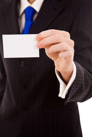 Hand of businessman offering business card on white background photo