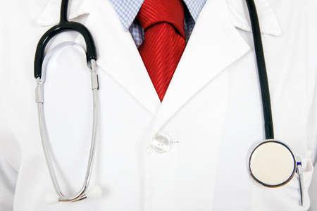 Close up of a doctors lab white coat. 免版税图像