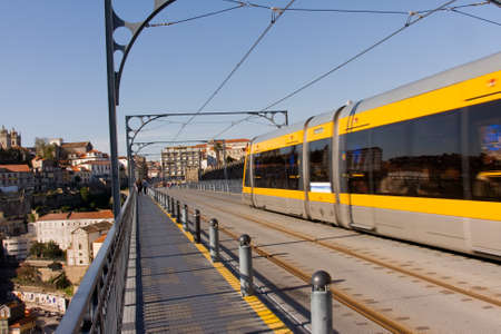 Metro train on the bridge. oPorto, north of Portugal