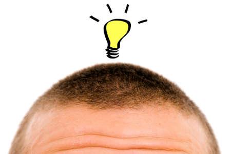 A bulb over a man head having an idea