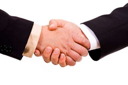 Business men hand shake in white background