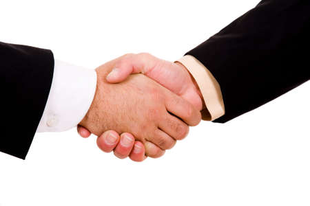 liaison: Business men hand shake in white background