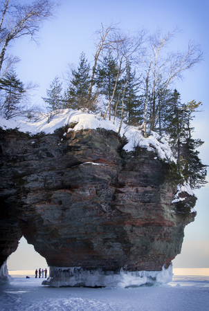 superior: Apostle Island Ice Caves on the shores of Lake Superior. Winter travel in Wisconsin