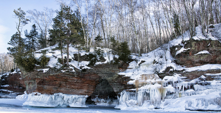 apostle: Apostle Island Ice Caves on the shores of Lake Superior.  Panorama image.  Winter travel in Wisconsin