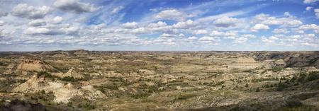 theodore: Panorama of the badlands of Theodore Roosevelt National Park.  Medora, North Dakota