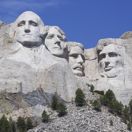 mount rushmore: Square image of Mount Rushmore in South Dakota, amongst clear, blue sky. Editorial