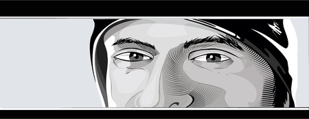Black and white vector illustration of a man