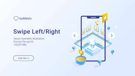 Mobile app illustration set. Vector isometric