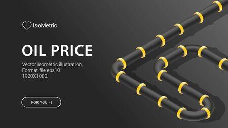Oil price isometric illustration, Crashing prices of oil, Isometric vector illustration. Crisis