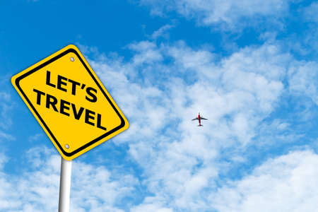 let: Let Travel road sign with blue sky and plane background Stock Photo