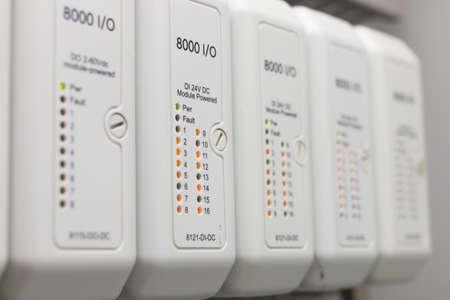 plc: Programmable logic controller input output module Stock Photo