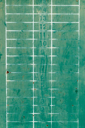 petanque: Green grunge petanque score board table Stock Photo