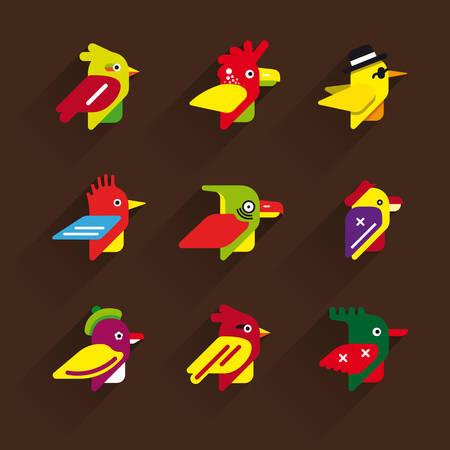 The range of flat icons birds. Vector