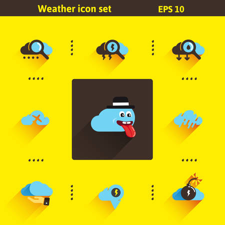 Set of flat icons on the weather. Vector