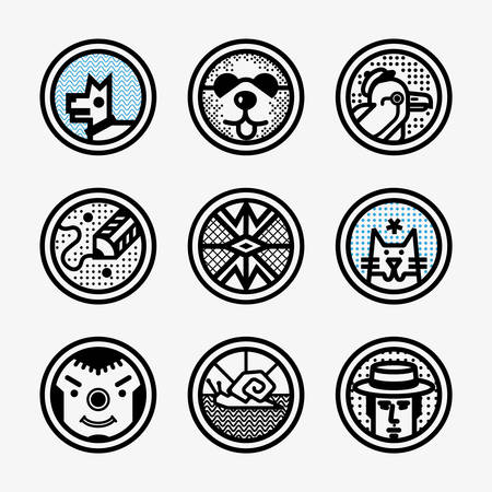 Set of vintage icons with animals dog, cat, parrot,eagle, snail, clown, man, and panda. Vector