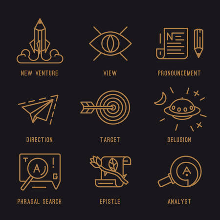 The set of media icons. Search engine indexing, promotion, start-up, hit the target.