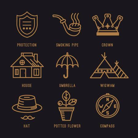 tr�sten: Icon set. Schutz, Komfort, Tepee, Regenschirm, Crown, Hut, Kompass, Pfeife, Zimmerpflanze, Haus, Blume.