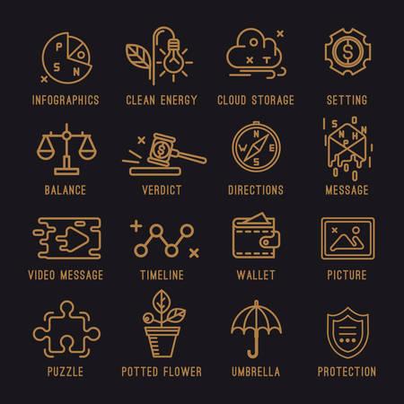 verdict: Set of business icons.The survey, clean energy, cloud storage, configuration, justice, verdict, compass, message, video message, timeline, wallet, picture, puzzle, houseplant, umbrella, shield.